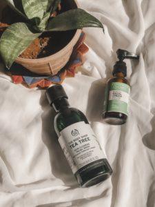 Skincare image of The Body Shop Tea Tree face wash and Conscious Chemist facial Cream