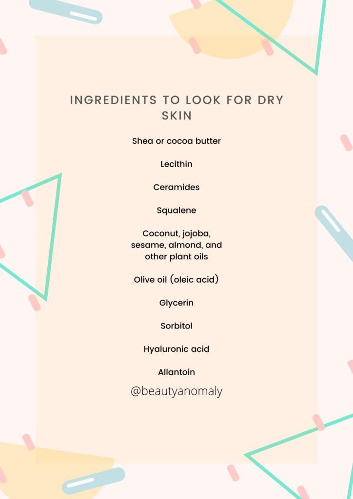 Dry skin| ingredients that work